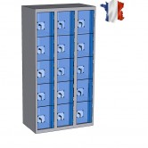 casier metallique plexi 3 colonnes 15 portes largeur 1200 mm