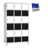 casier metallique 3 colonnes 18 portes kit monté 1200 mm