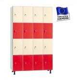 casier bois mélaminé largeur 1200 mm 4 colonnes 16 portes