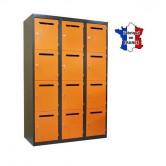 casier prof métallique fente boite lettre 3 colonnes 12 portes largeur 1200 mm