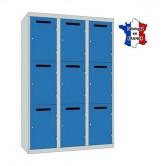 casier vestiaire metallique professeur L1200 3 colonnes 9 portes