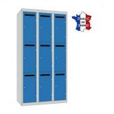 casier métallique professeur largeur 900 mm 3 colonnes 9 portes