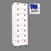 vestiaire plastique pvc 2 colonnes 16 cases largeur 600 mm